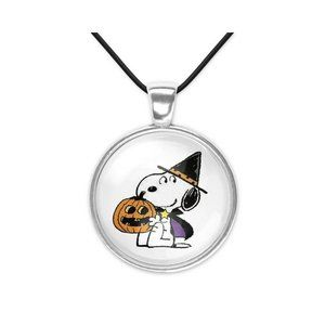 Snoopy Peanuts Halloween Glass Pendant Necklace